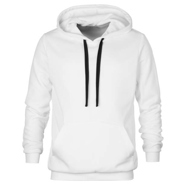 vorderseite des sweatshirts mit kapuze isoliert auf weißem hintergrund - fleecepullover stock-fotos und bilder