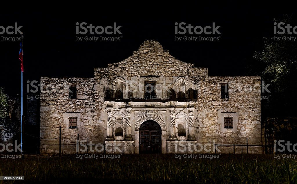 Front of The Alamo at night stock photo