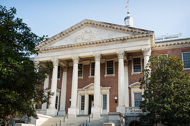 Front of the Maryland State House stock photo