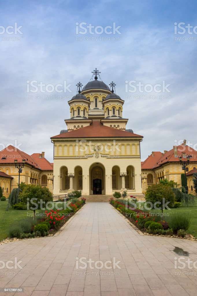 Front of the orthodox cathedral in the citadel of Alba Iulia, Romania stock photo