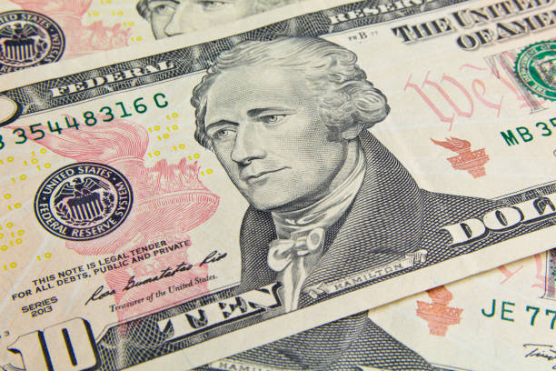 Front of the ten dollar bill with a Portrait of President Alexander Hamilton close-up stock photo