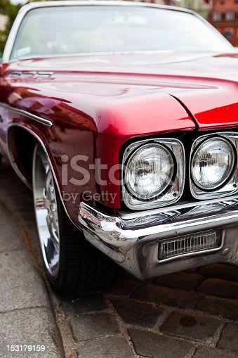 Front of vintage american car