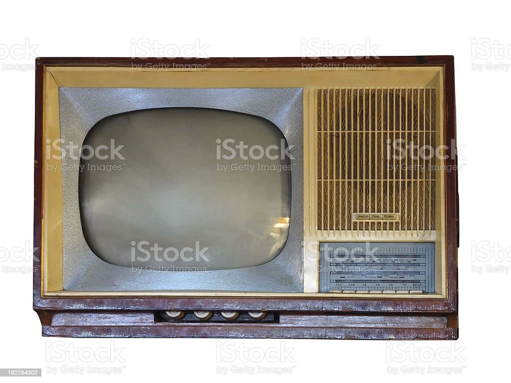 Front of vintage old television set over white royalty-free stock photo