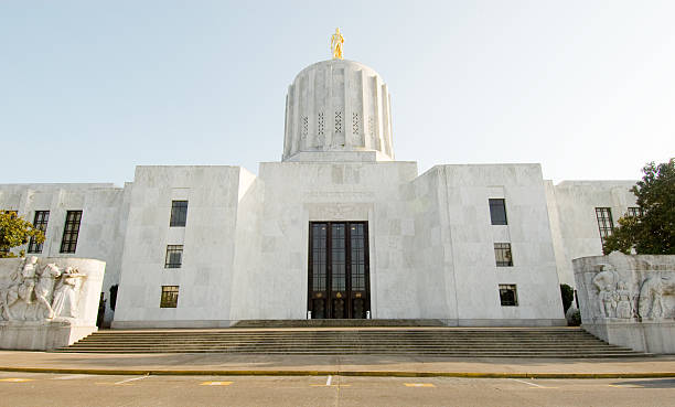 Front of white stone Capitol building in Salem, Oregon  stock photo