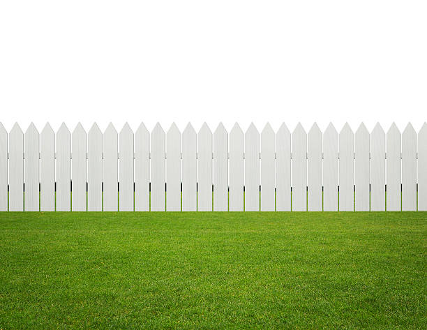 front or back yard - fence stock photos and pictures