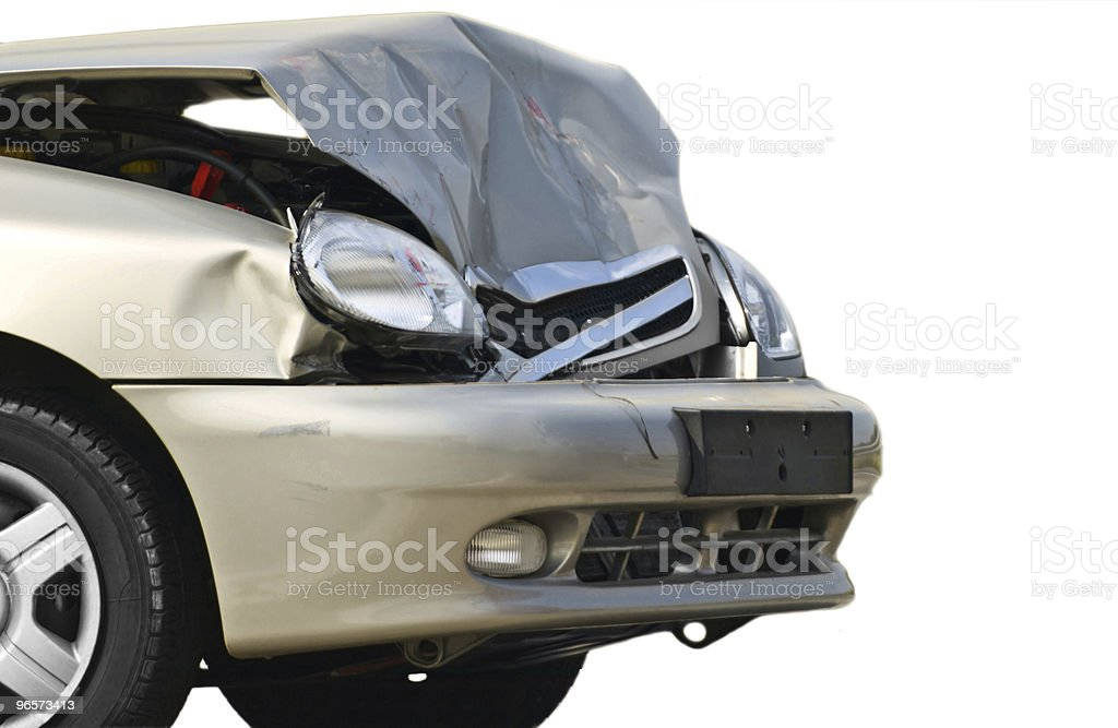 Front part of a beige wrecked car stock photo