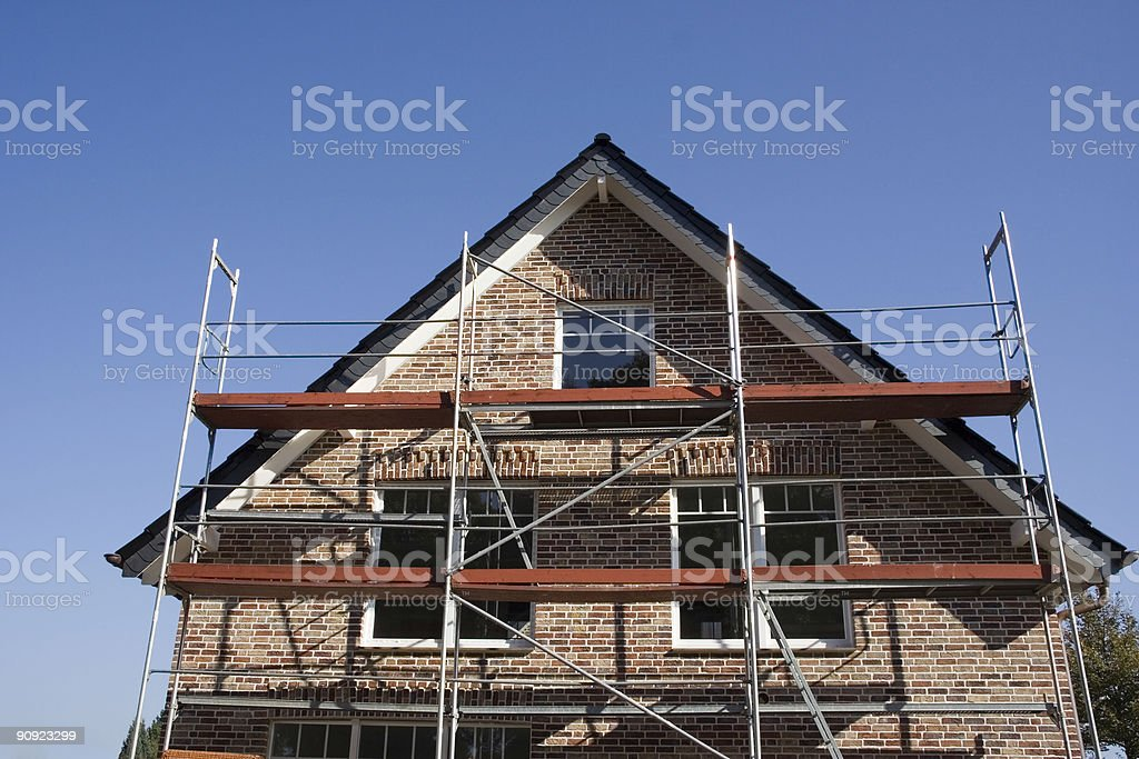 Front part of a house under construction stock photo