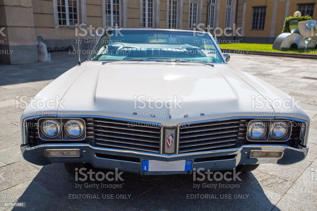 GENOA, ITALY JUNE 3, 2017 - Front part of an American white car Buick stock photo