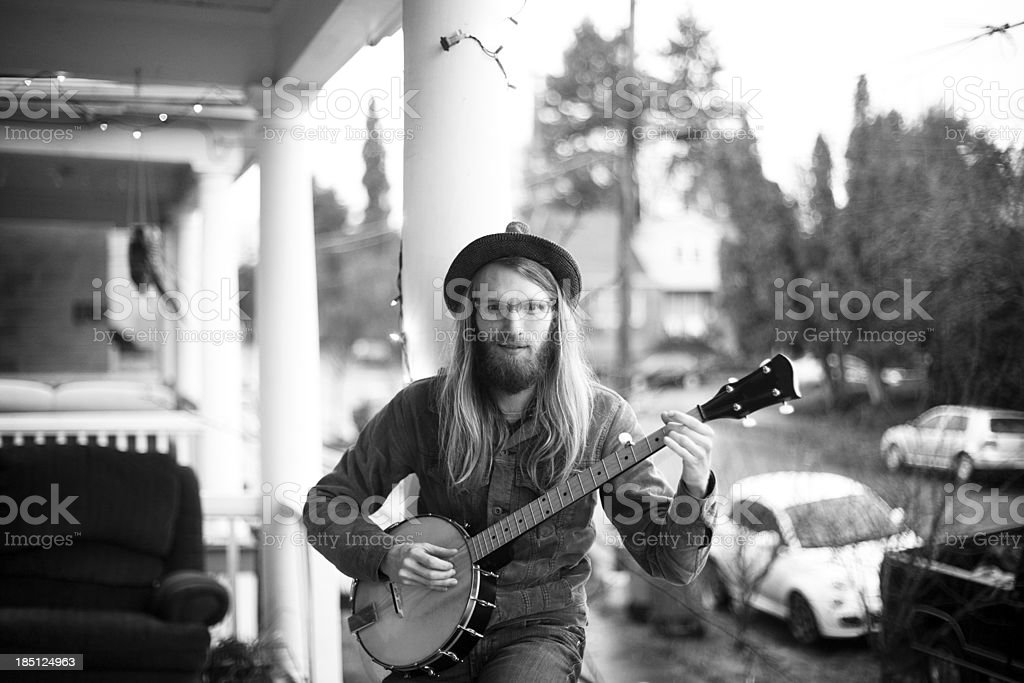 Front Porch Banjo Player stock photo