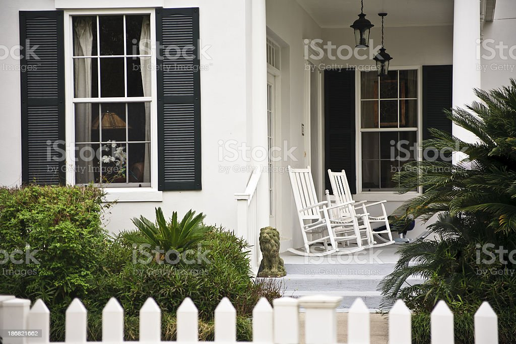 Front Porch: Colonial Home stock photo