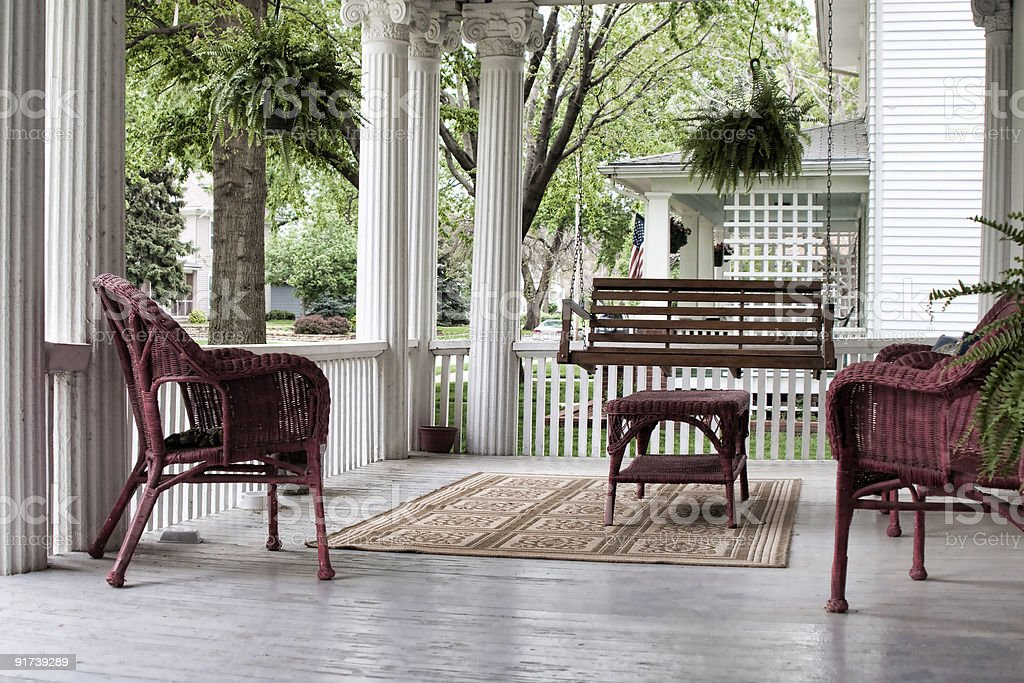 Front Porch in Spring stock photo