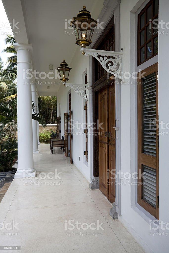 front porch luxury villa stock photo