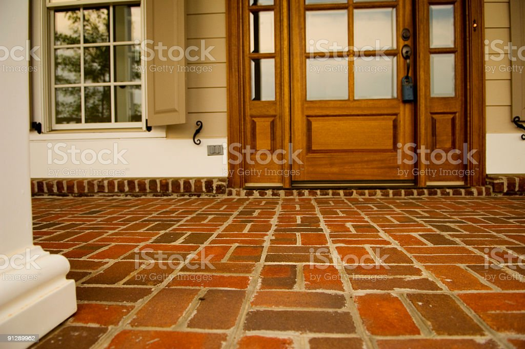 Front Porch Made of Brick of a Home or House royalty-free stock photo