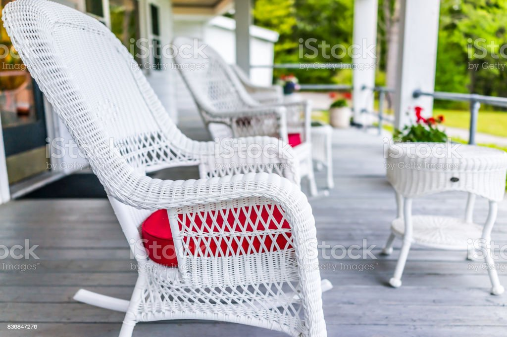 Fabulous Front Porch Of House With White Rocking Chairs On Wooden Creativecarmelina Interior Chair Design Creativecarmelinacom