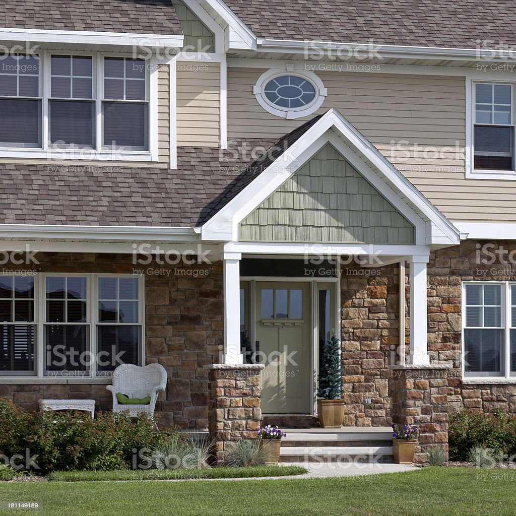 Front porch of newly built home royalty-free stock photo