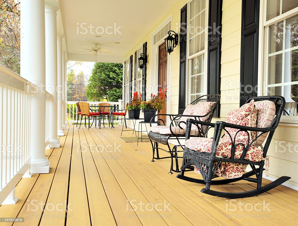 Front Porch of Traditional Home stock photo