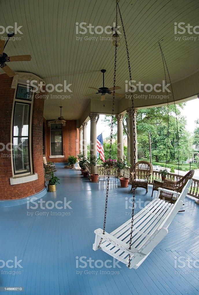 Front Porch Swing stock photo