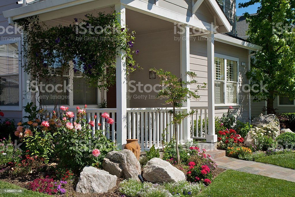 Front Porch with Garden stock photo