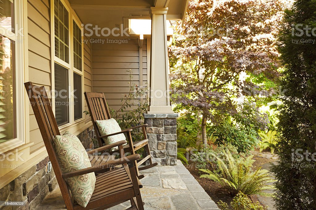 Front Porch with Rocking Chairs stock photo