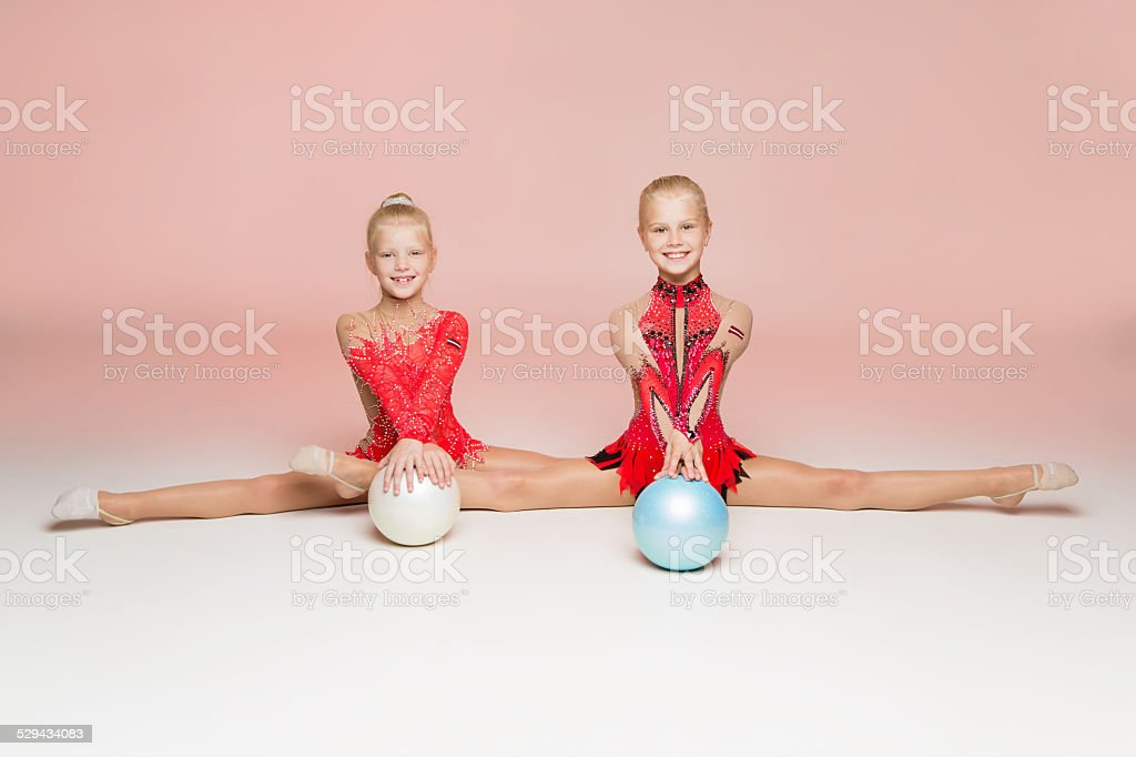 Front portrait of two gymnast stock photo