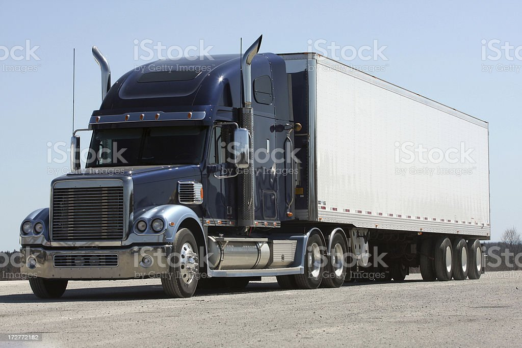 Front Quarter View Of A Semi Tractor Trailer Truck royalty-free stock photo