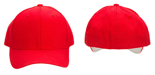 Front & rear view of blank red baseball cap-isolated on white stock photo