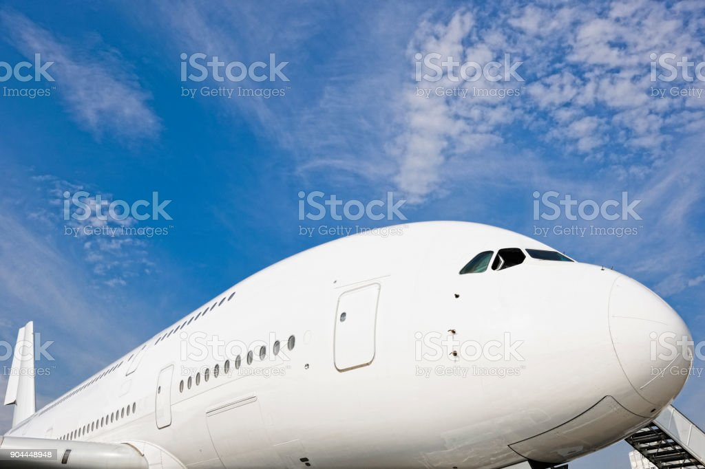 Front Section of Airbus A380 Passenger Aircraft stock photo