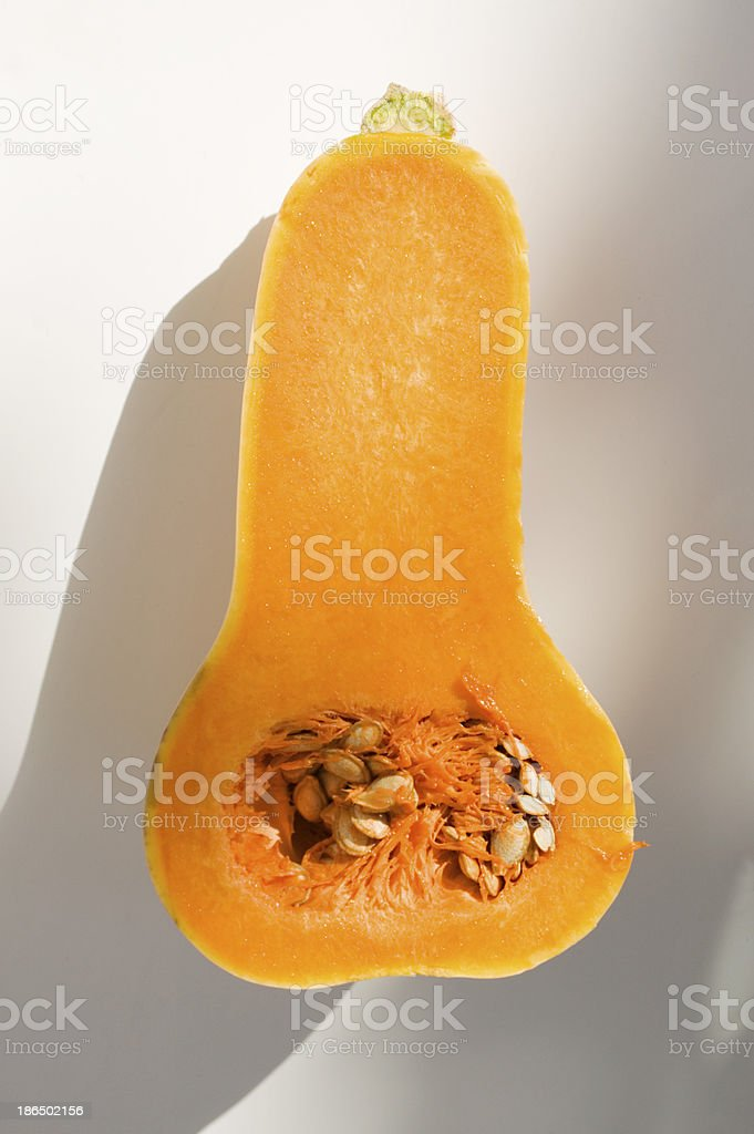front shot of a half buttercup squash royalty-free stock photo