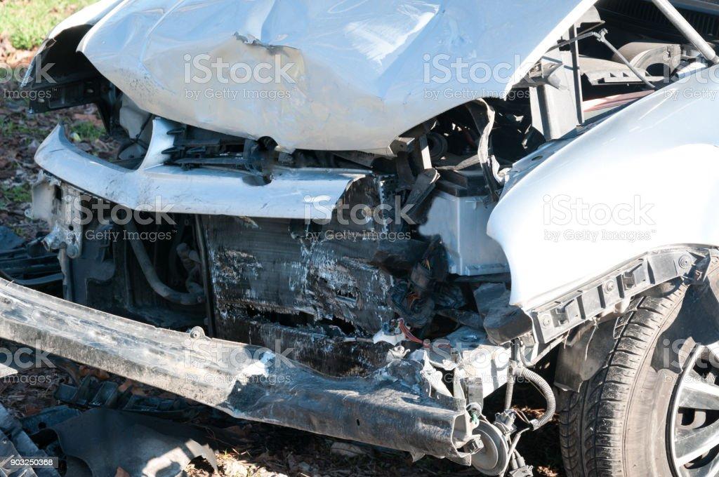 Car crash. Front side of broken and damaged car in crash accident...