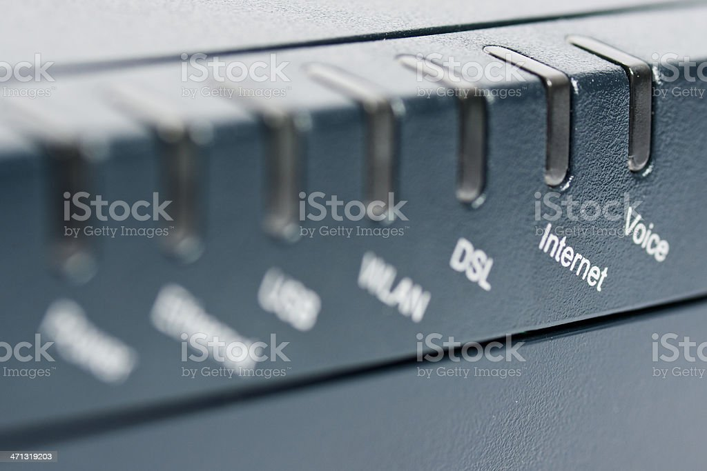Front side of wireless router with focus on