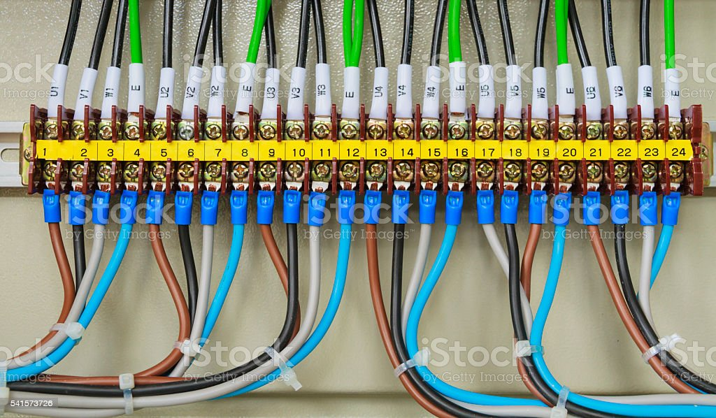 Front side showing colorful electrical wiring closeup. stock photo