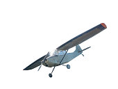 Front side view of  vintage airplane with piston engine and propeller. Isolated on white background with clipping path.