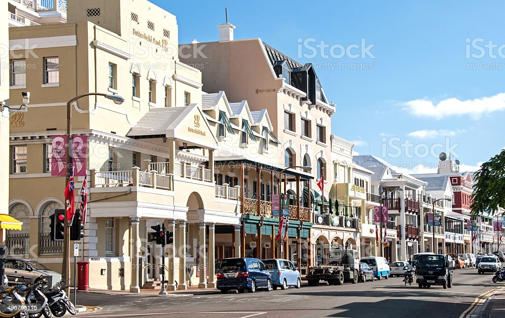 Front Street, Hamilton, Bermuda, with traffic and pedestrians. stock photo