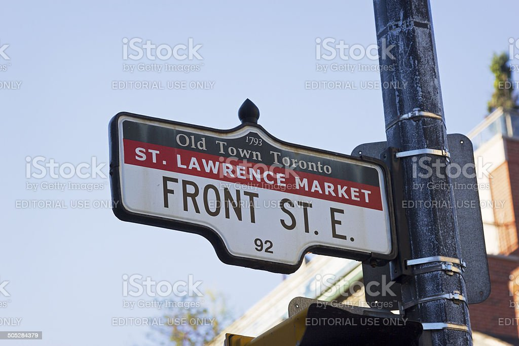 Front Street Sign In Old Town District Toronto Royalty Free Stock Photo