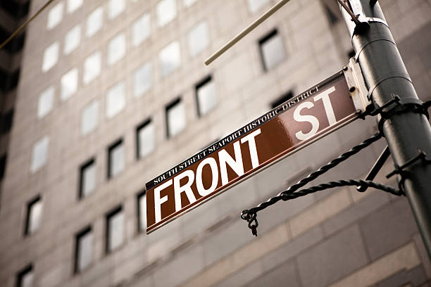 Front Street Sign Front Street Sign south street seaport stock pictures, royalty-free photos & images