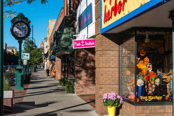 Front Street, Traverse City, Michigan. stock photo