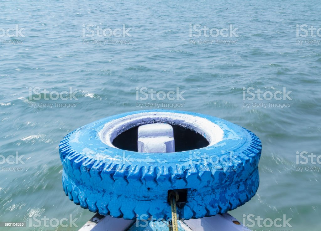 Front tip of a passenger boat stock photo
