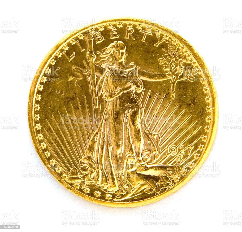 Front US Twenty Dollar St. Gauden Double Eagle Gold Coin stock photo