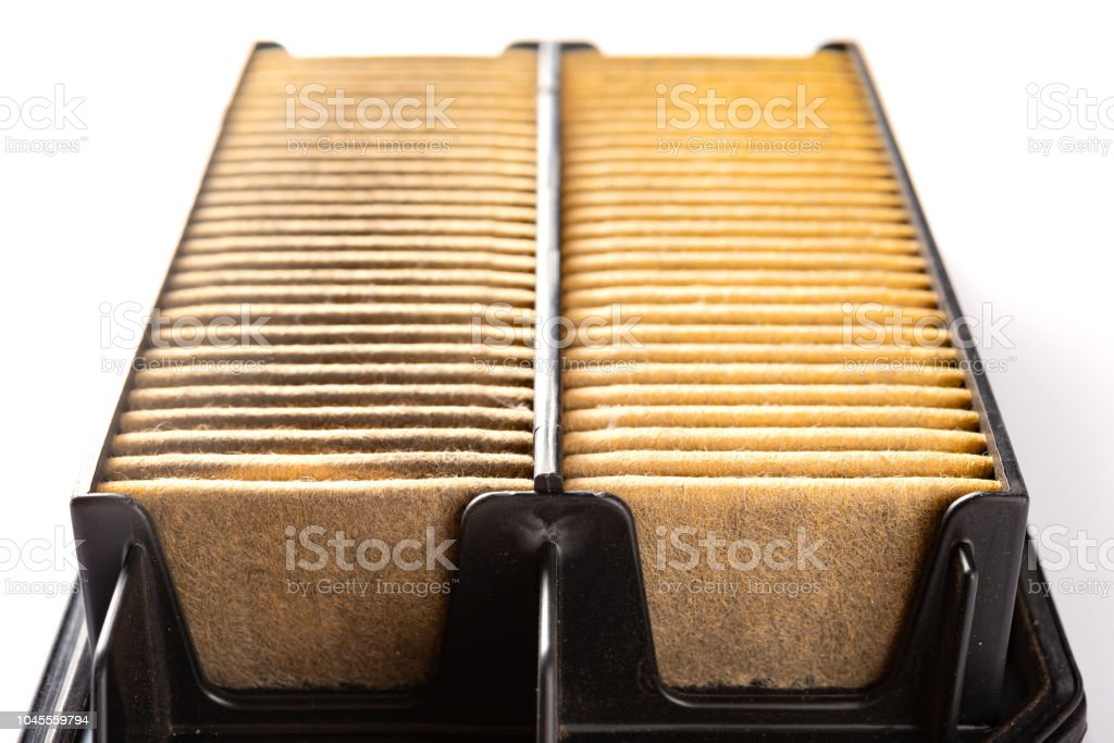 front view air filter for a car on white stock photo
