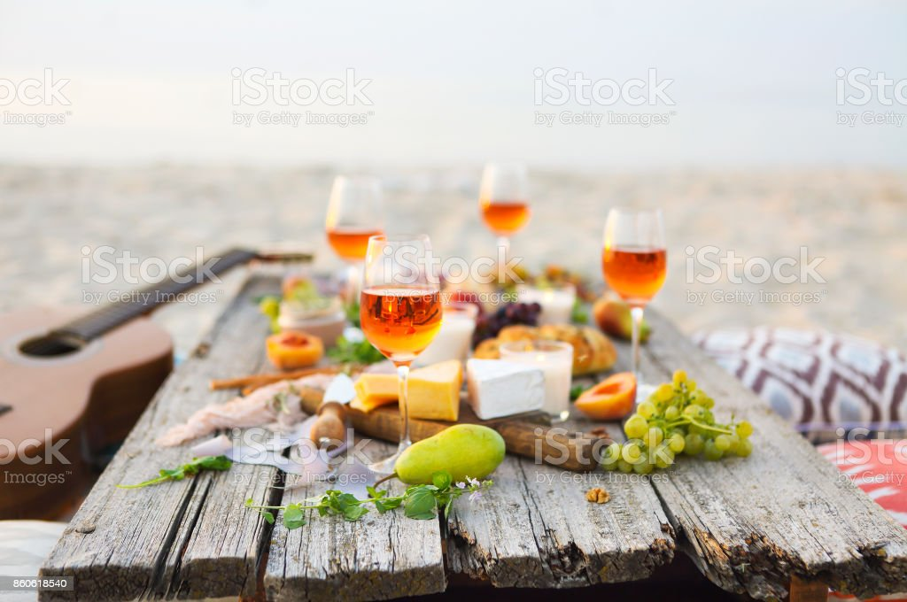 Front view beach picnic table stock photo