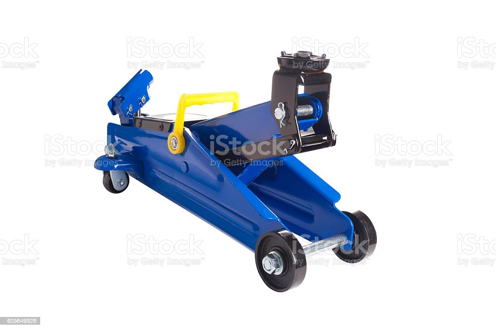 Front View Blue Car Floor Jack Royalty Free Stock Photo