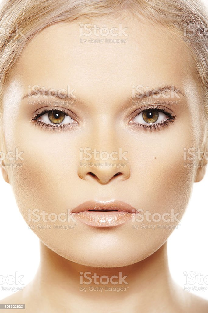 Front view close-up of beauty with natural make-up stock photo