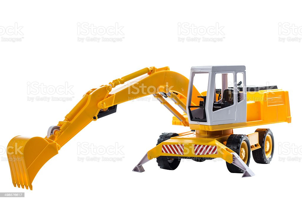 front view excavators construction machinery toy stock photo