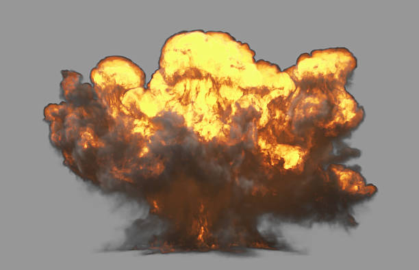 front view explosion with clipping path - green screen background stock photos and pictures