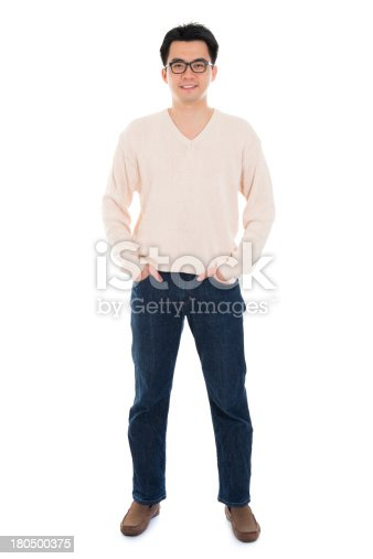 istock Front view full body Asian man 180500375