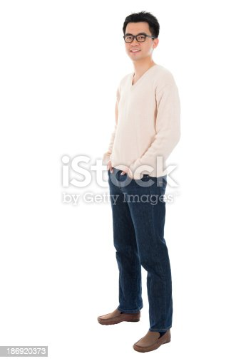 istock Front view full body casual Asian man 186920373
