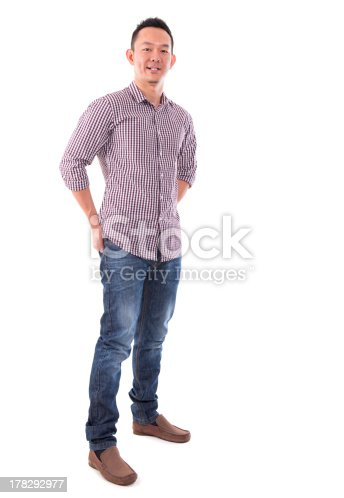 istock Front view full body confident Asian man 178292977