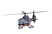 Front view of flying helicopter, isolated on white background