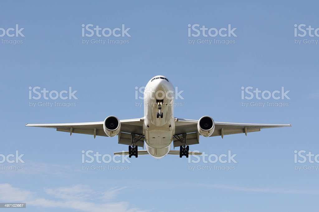 Front view landing airplane - Royalty-free Air Vehicle Stock Photo