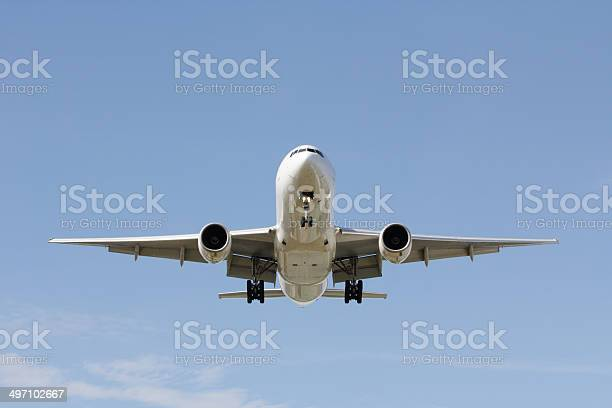 Front View Landing Airplane Stock Photo - Download Image Now